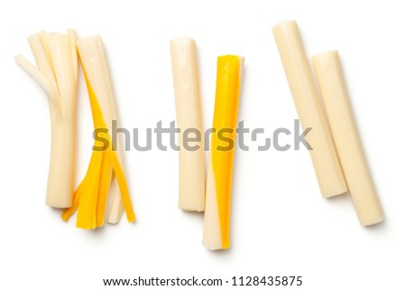 String cheese isolated on white background. Top view