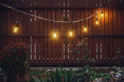 String lights in a yard
