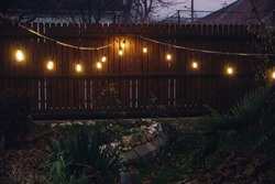 String lights in a yard at dusk