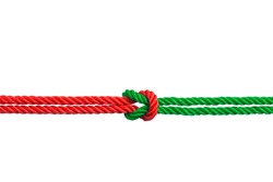 string of red and green rope knot, harmoniousness, harmony, rapport, unity, business concept, isolated on white background