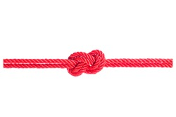 string of red rope knot isolated on white background