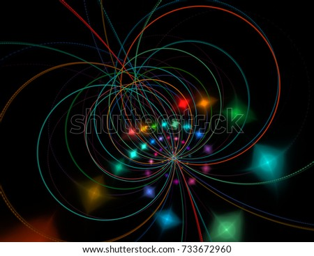 String theory. Physical processes and quantum theory. Quantum entanglement. An abstract computer generated modern fractal design on dark background.