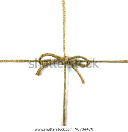 String tied in a bow on white