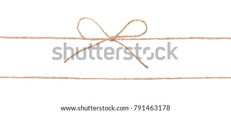 String twine rope bow isolated on white.Decoration parcel.