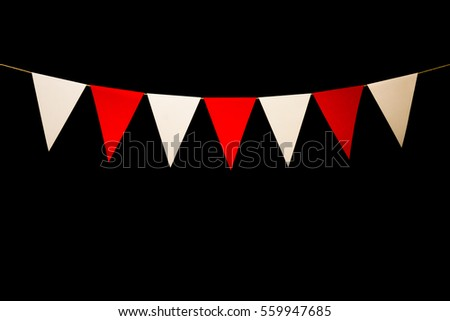 String with bunting seven red and white triangles. Add your own characters for title or banner. #559947685