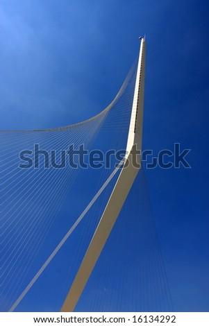 Stringed bridge is the harp of David in Jerusalem, Israel