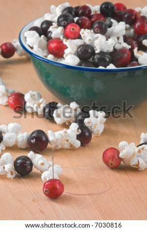 Stringing Popcorn & Cranberry Strings - bowl of cranberries and popcorn on butcher block (out of focus) with created string and needle in cranberry in mid and foreground (focus on needle/cranberry)