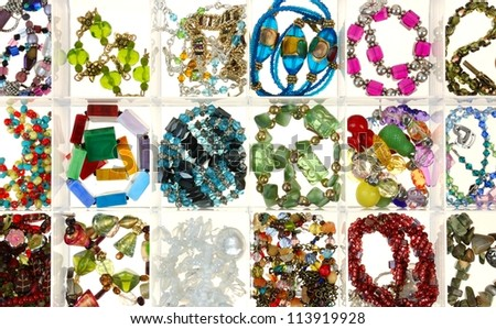 strings of glass beads for making jewelry
