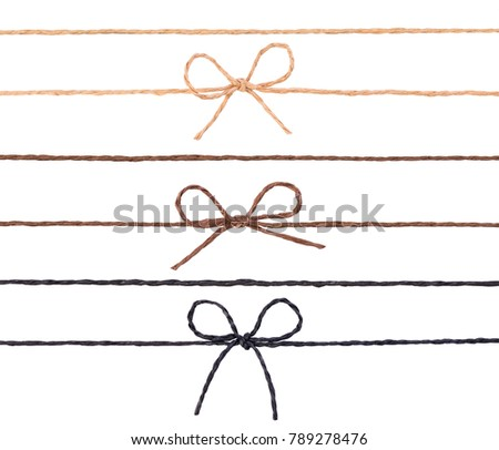 Strings with bows isolated on white background