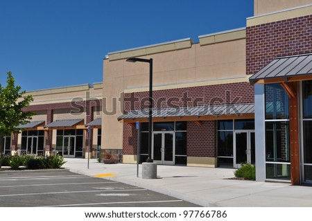 Strip Mall Shopping Center Parking Lot