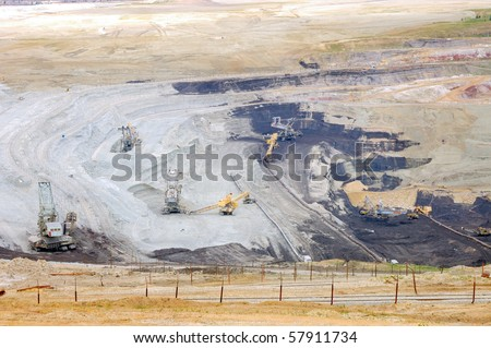 Strip mine with brown coal