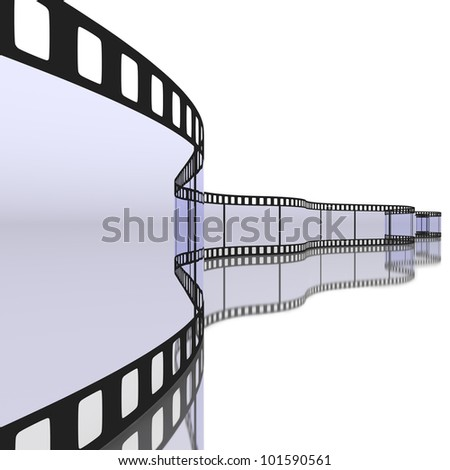 Strip of 35 mm film transparency with reflection on white background