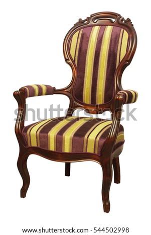 Stripe baroque rokoko armchair isolated on white
