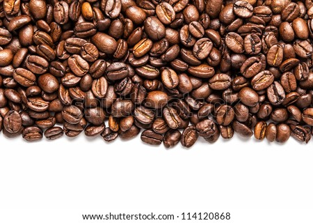 stripe of coffee beans isolated on white