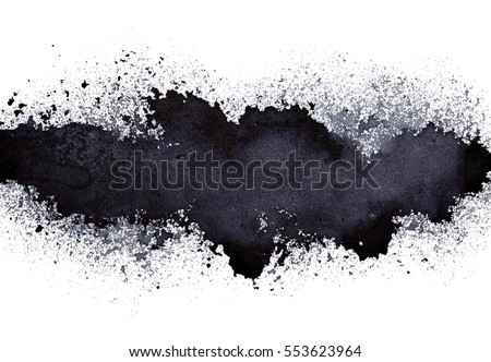 Stripe of spilt black paint - grunge abstract background - raster illustration