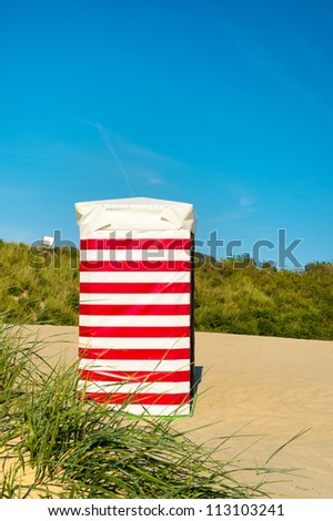 Striped beach chair at the island Borkum