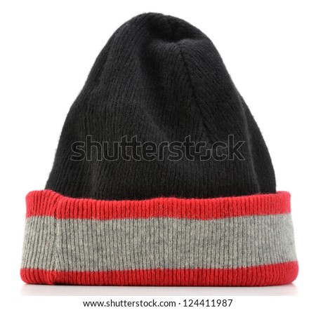 Striped beanie hat isolated on white background