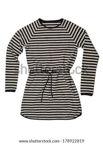 Striped belted t-shirt dress isolated on white background. Clipping path included