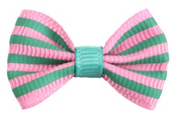 Striped bow tie pink with emerald green stripes