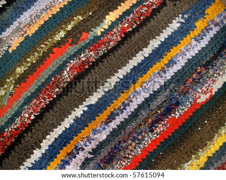 striped colorful handicraft rug from cotton fabric