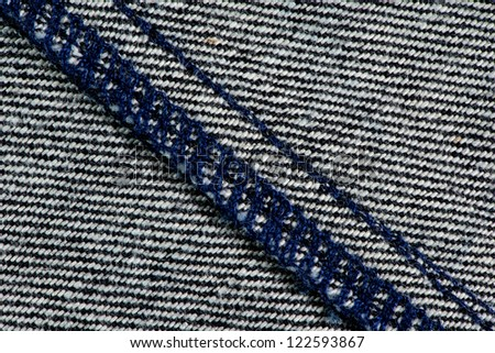 Striped cotton fabric with stitches and seam texture background. #122593867