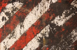 Striped damaged texture with cracks and white-red stripes.Post-apocalyptic background with colorful stripes. Destroyed sign dimensional transport with cracks and spots.