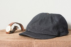 Striped Denim Youth Newsboy Cap,Jeans cap ,denim hat on a white background.