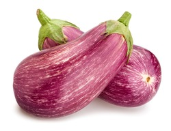 striped eggplant path isolated on white