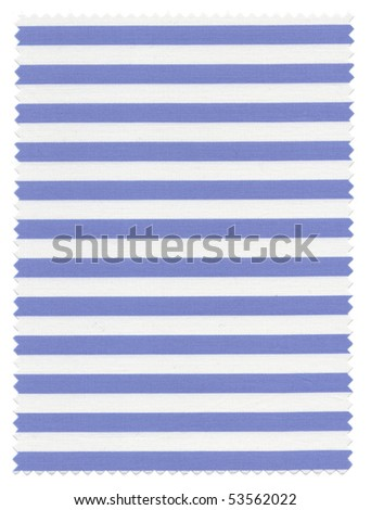 Striped Fabric Swatch (white and blue) with zigzag edges