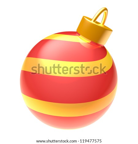 Striped glossy blue 3D Christmas ball isolated on white background