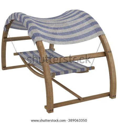striped hammock, 3d illustration,  #389063350