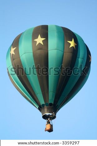 Striped Hot Air Balloon with Stars
