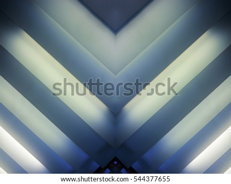 Striped luminous structure. Reworked close-up photo of pitched ceiling with light boxes / lighting fixtures. Abstract modern architecture background. Interior fragment in hi-tech / minimalism style.