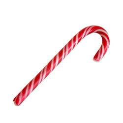 Striped mint lollipop in christmas colors isolated on white background. Close-up.