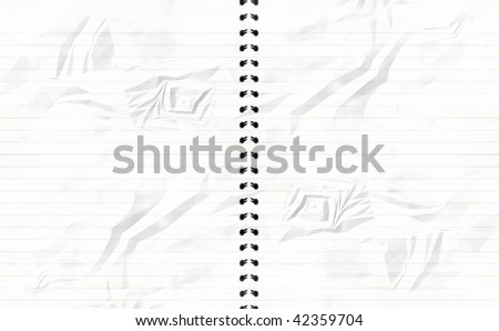 striped notebook with crumpled white paper in it