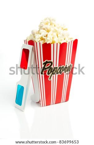 Striped popcorn box with 3d glasses