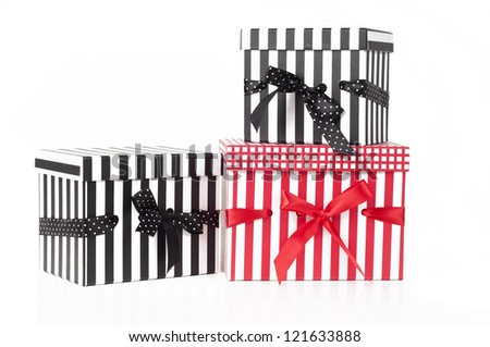Striped presents isolated on a white background