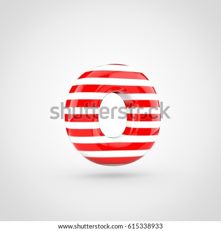 Striped Red And White Glossy Letter O Lowercase 3d Render Of Bubble