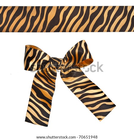 striped ribbon bow isolated over white background