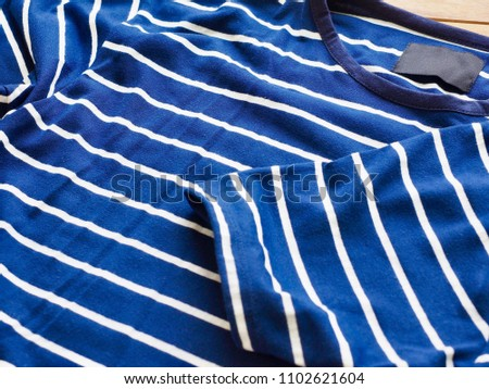 Striped Round Short Sleeve T-shirt, Clothing label  #1102621604