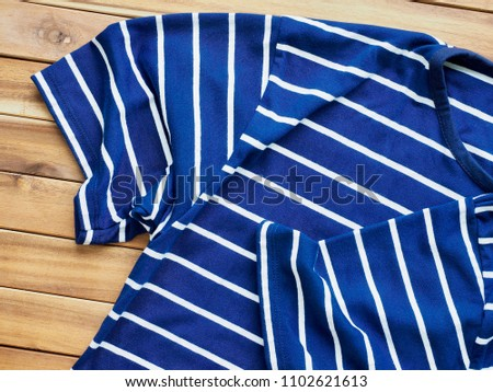 Striped Round Short Sleeve T-shirt, Clothing label  #1102621613