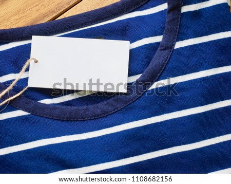 Striped Round Short Sleeve T-shirt, Clothing label  #1108682156