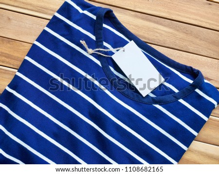 Striped Round Short Sleeve T-shirt, Clothing label  #1108682165