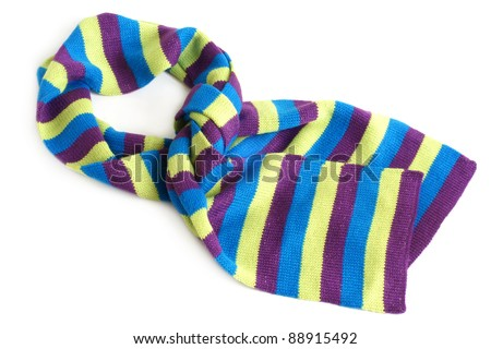 Striped scarf on a white background