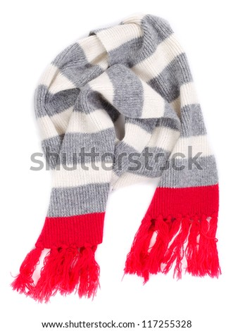 striped scarf with a red fringe on the ends. Isolate on white.