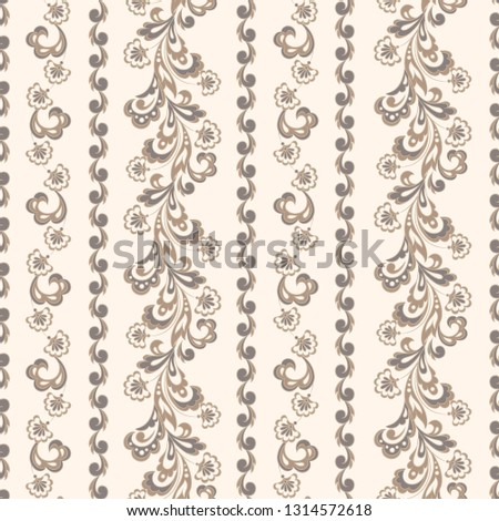 Striped seamless floral background with. Wallpaper Illustration #1314572618