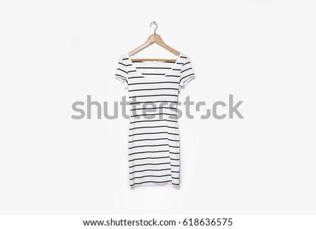 Shutterstock striped sundress on hanger- white background
