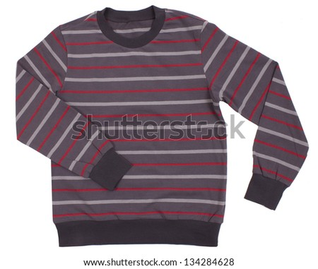 Striped sweater for children on a white background