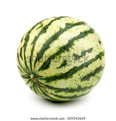 striped watermelon isolated on white background