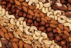 Stripes made of nuts, almond, cashew nuts, Brazil nut, walnut, hazelnut